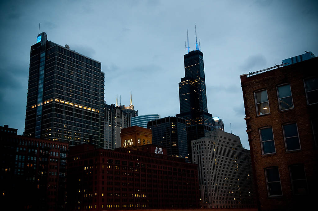 Chicago Skyline from the Clinton EL Stop photo by Chris Ocken